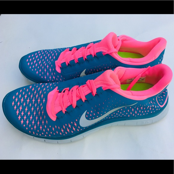 le dernier b4970 8eed2 Nike Free 3.0 v4 Blue/Pink Trainers Running Shoes NWT